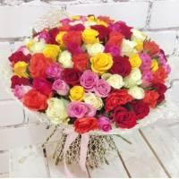 Букет 51 разноцветная роза с лентами R310