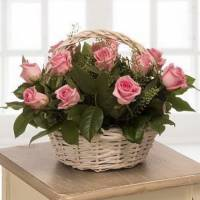 15 крупных роз в корзине с зеленью R018